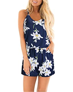 8cb08ecfda STYLEWORD Womens Summer Floral Spaghetti Strap Short Casual Jumpsuit Rompers