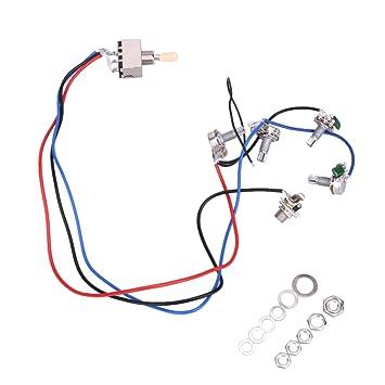 domybest eléctrico guitarra cableado arnés precableado 2 Volúmenes 2 Tonos 3 way Toggle Switch 4 Pcs