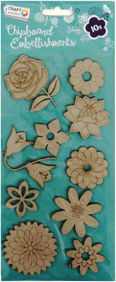 10 Pack Floral and Petals Craft Sensations Chipboard Embellishments