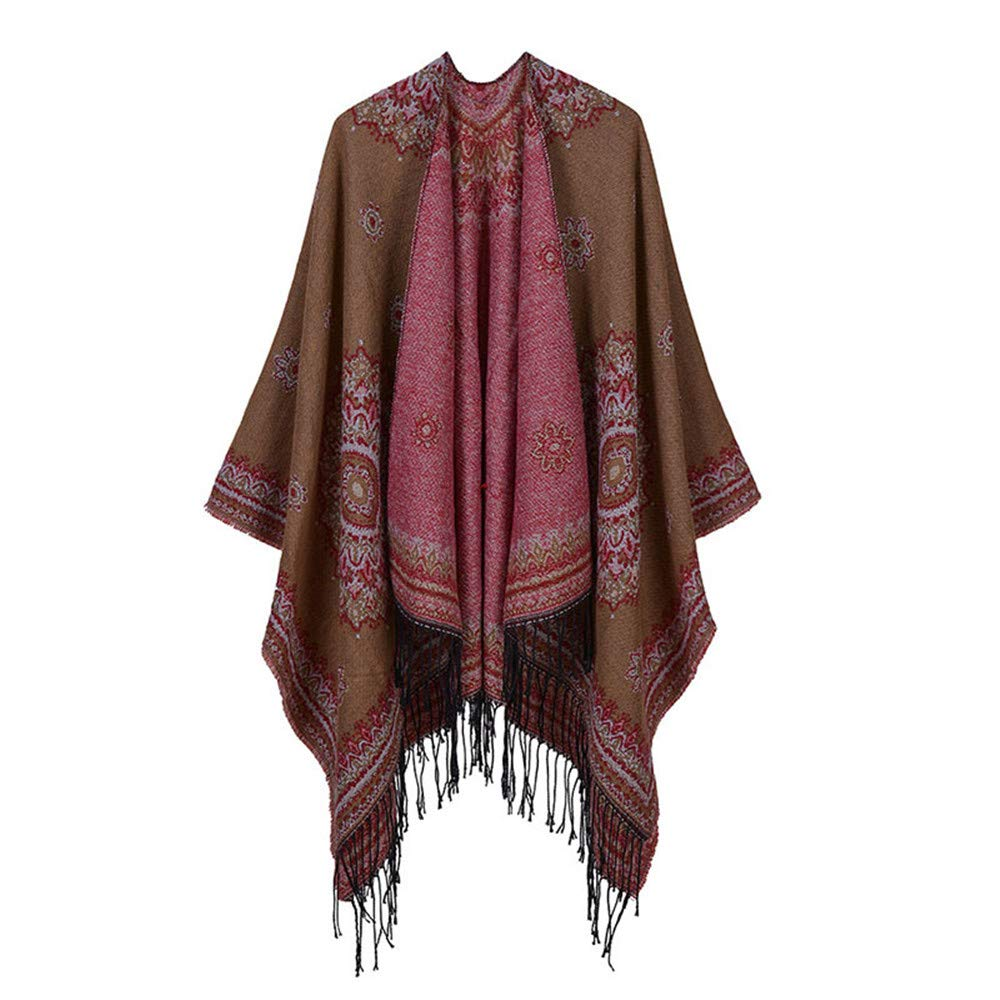 Khaki Scarves Women's Winter Wrap Blanket Poncho Cape Shawl Cardigans Sweater Coat Print Shawl wrap (color   Navy)