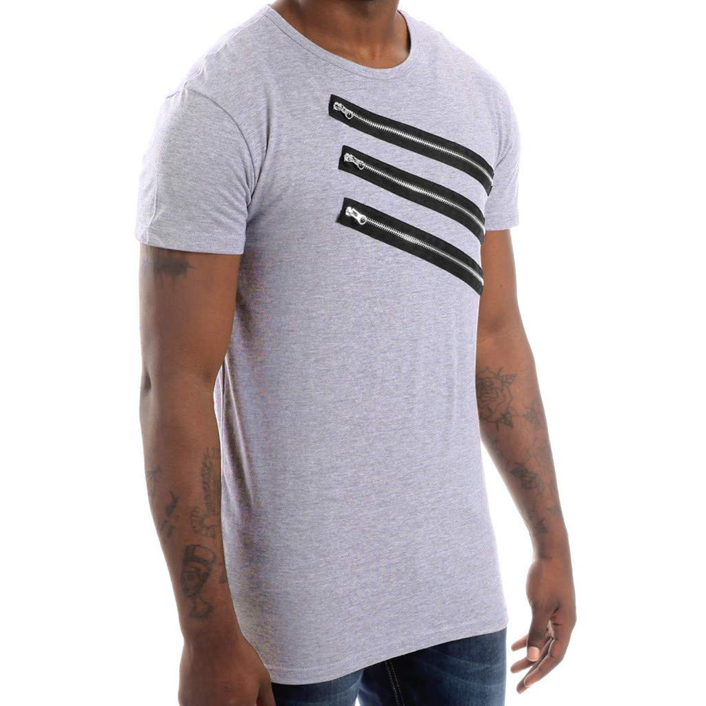 NRUTUP Mens Vintage Breathable Solid Loose Chest Zipper T Shirts Blouses (Gray,M) by NRUTUP (Image #2)