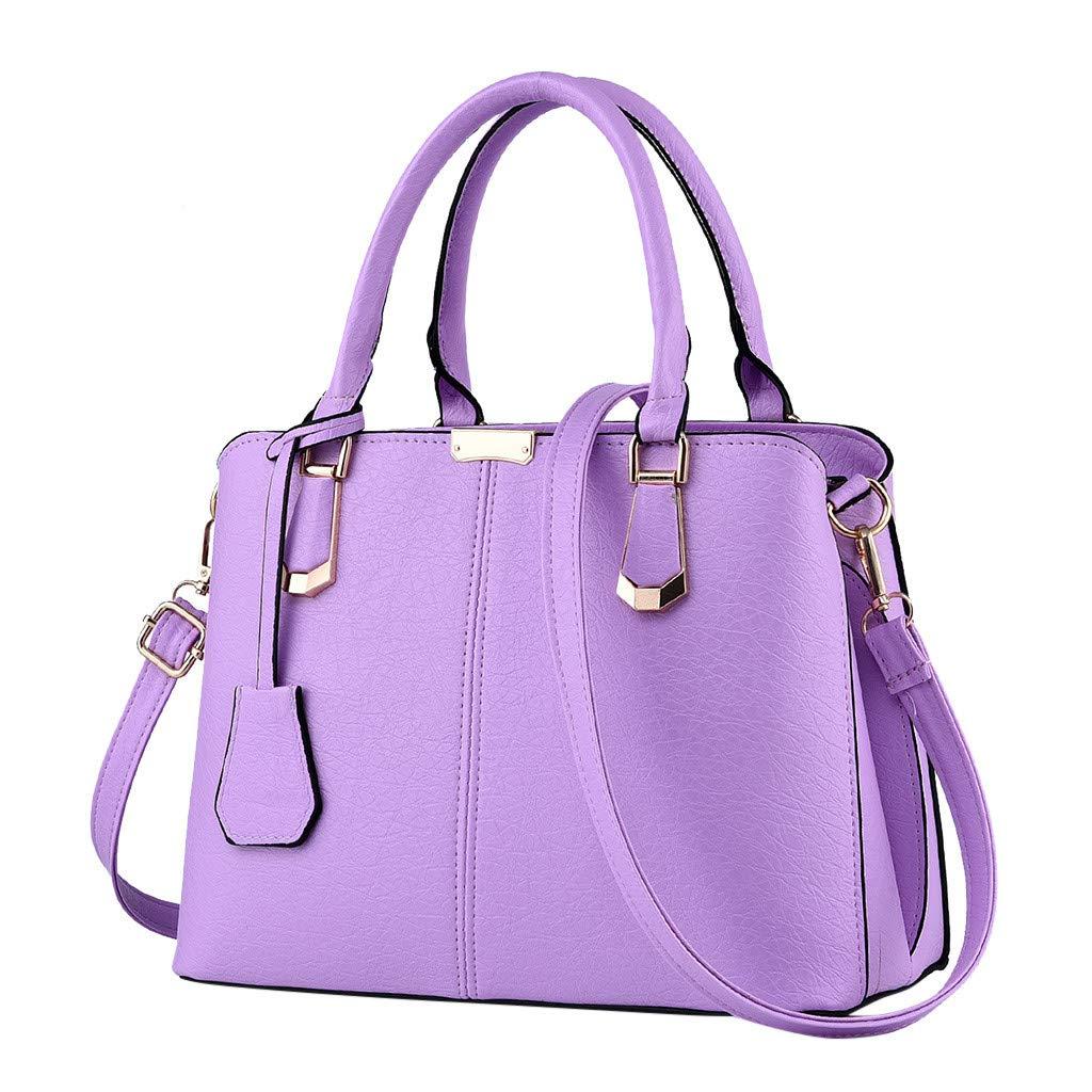 Shoulder Bags,AgrinTol Women Large Capacity Simple Fashion Top Handle Satchel Tote Purse (Purple) by Agrintol_Fashion Bags