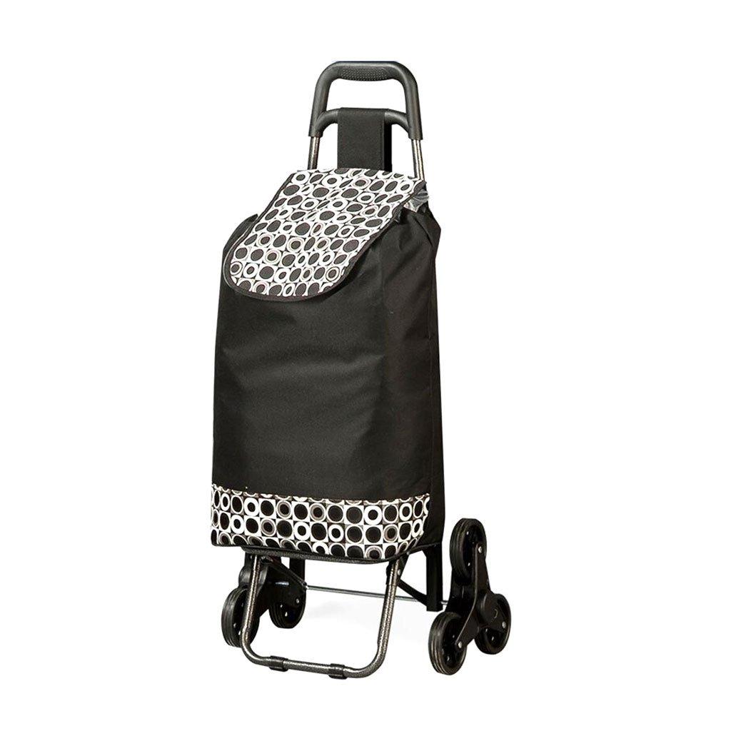 ショッピングカート トロリー三輪駆動階段ショッピングカート折り畳み式スーパーマーケット車ポータブル荷物車重量約30 Kg 2色 (色 : 黒)  黒 B07FLQX4H2