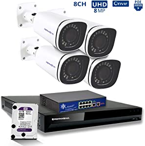 MorphXStar 8CH 4K NVR Network IP Security Camera System - 4 x HD 2160P 6MP 2.7~13.5mm AutoFocus Lens 120ft IR PoE IP Bullet Camera + 2TB Hard Drive + 8 Ports PoE Switch