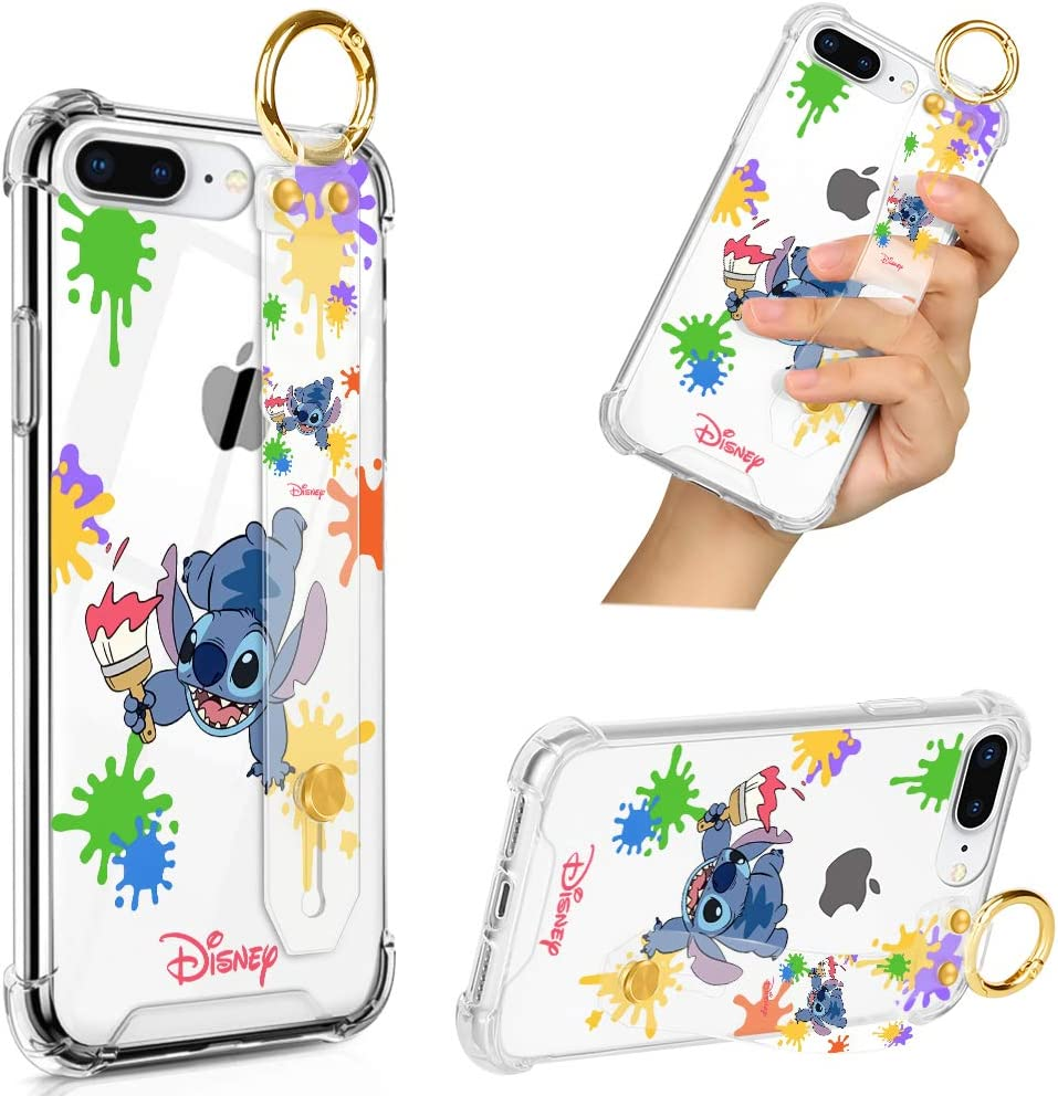 DISNEY COLLECTION iPhone 7 Plus iPhone 8 Plus Clear Case with Wrist Strap Band/Lanyard, Slim Anti-Yellow Full-Body Drop Protection Transparent Cover Design Stitch Colorful Scrawl Case for Boys&Girls