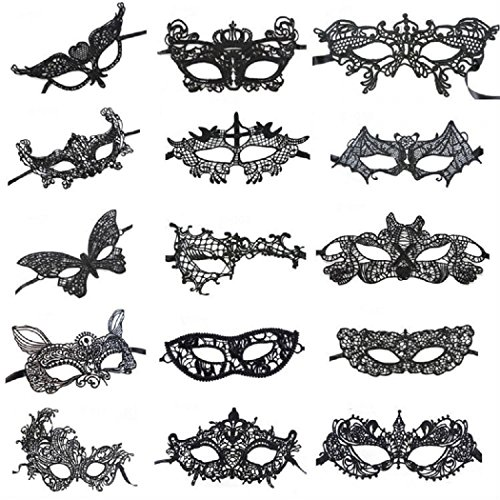 EUSIN Sexy Black Lace Masquerade Party Masks 15 pcs (Party Sexy)