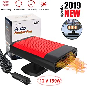 【2019 Upgrade】 Portable Car Heater 12V, Automobile Electronic Fast Heating Defrost Defogger Windscreen Fan, 30S Heat Rapidly Car Space, Auto 2 In 1 Heat Cooling Fan Ceramic Plug In Cig Lighter(Red)