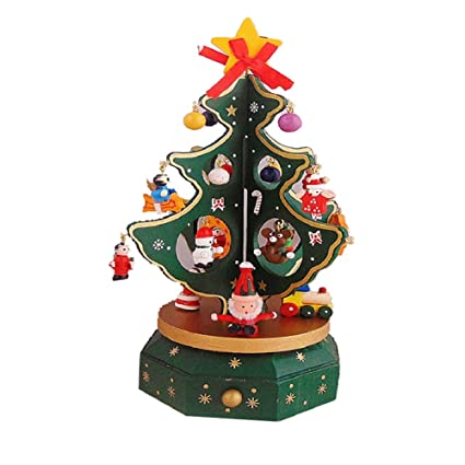 WER Wooden Rotating Music Box Merry Christmas Trees Ornaments Christmas  Holiday Gifts - Amazon.com: WER Wooden Rotating Music Box Merry Christmas Trees