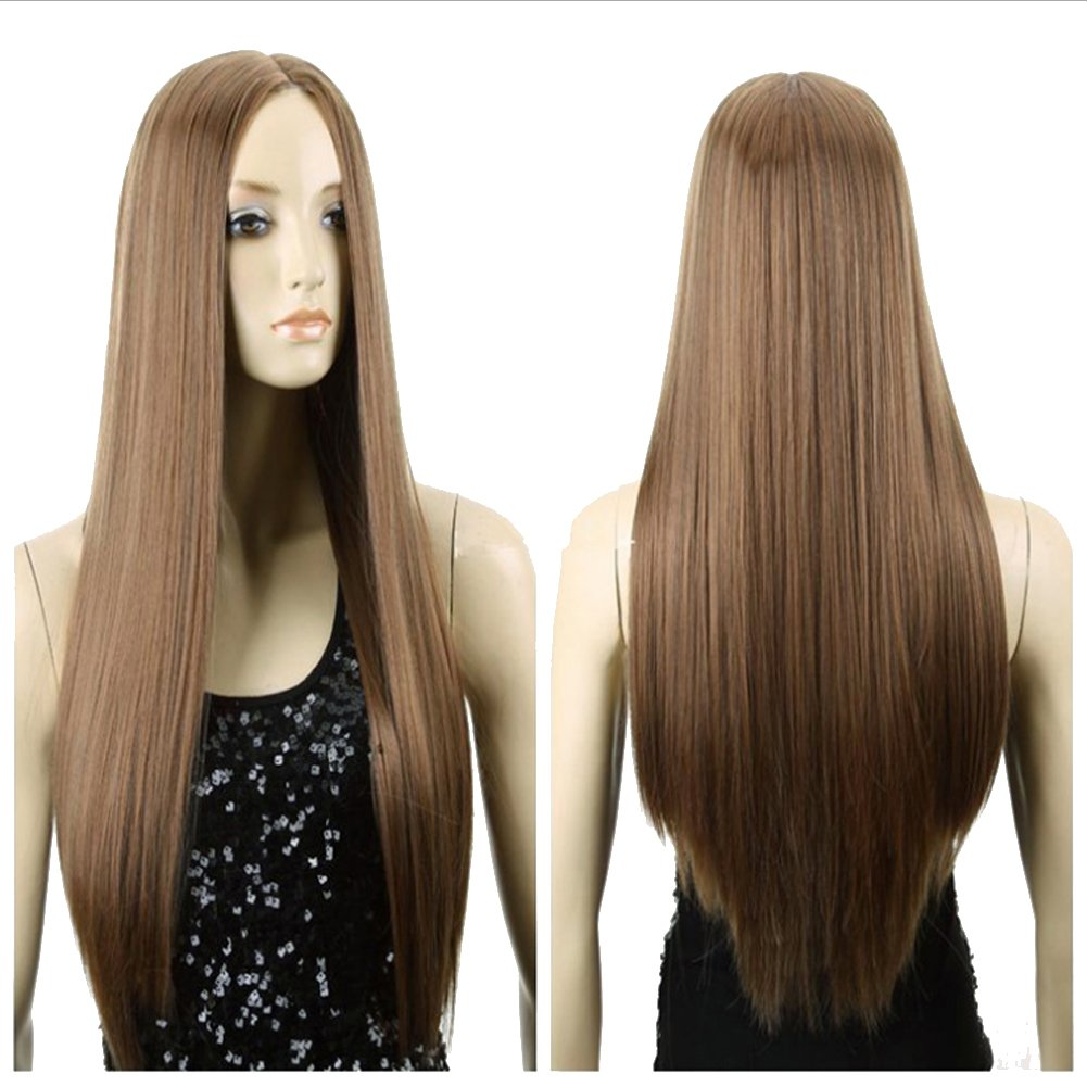 Cexin moda mujer parte media peluca larga recta Cosplay disfraces peluca luz marrón