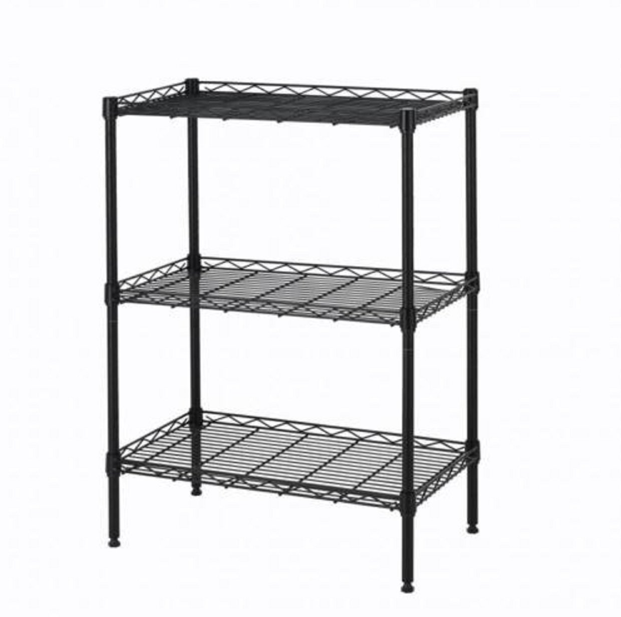 Wire Shelving Wall Unit 3 Shelves Shelf Rack Wide Duty Heavy Metal Black 3 Layer Tire by Brother123shop
