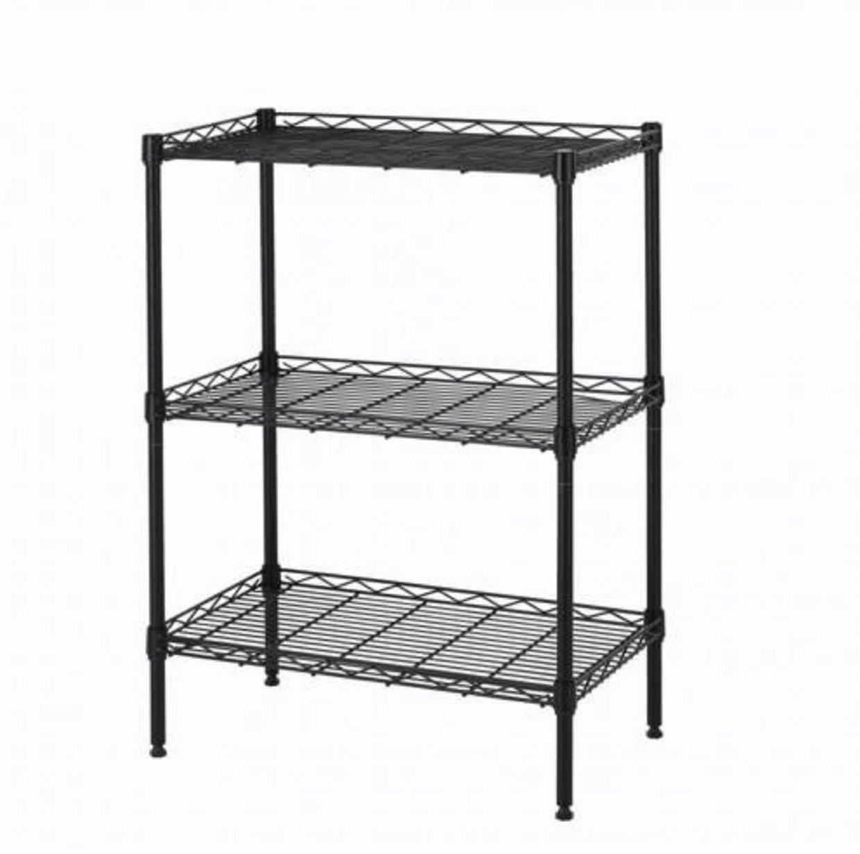 Wire Shelving Wall Unit 3 Shelves Shelf Rack Wide Duty Heavy Metal Black 3 Layer Tire