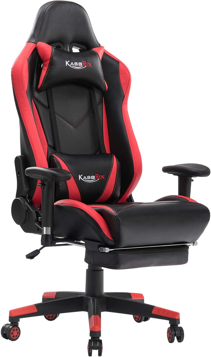 ASORIX Computer Chair High Back Gaming Chairs of Professional Racing Style Comfortable Gamer Chair with Footrest and Massage Backrest and Lumbar Pillows Red-8