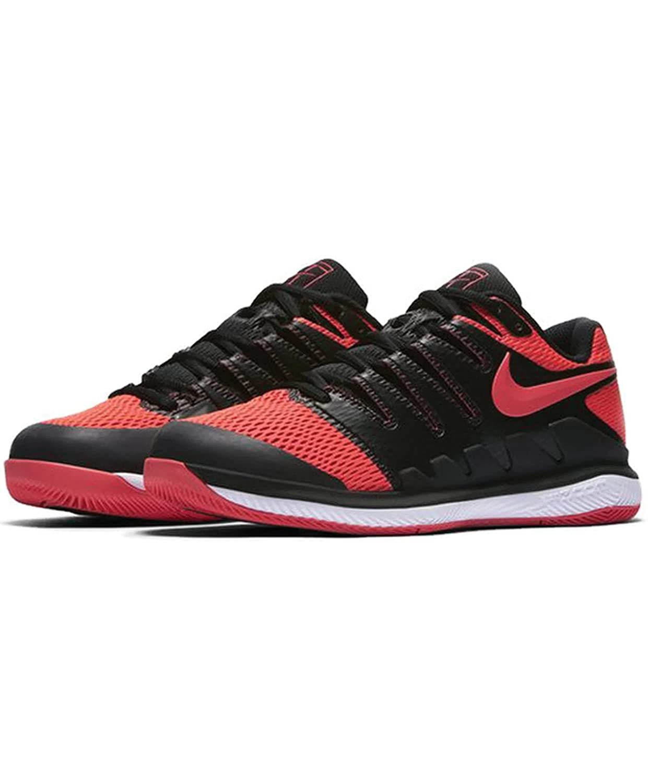 NIKE Women's Air Zoom Vapor X HC Tennis Shoes B0059OAQVA 6.5 B(M) US|Black/Solar Red-white