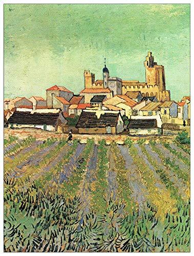 Maries Oil Saintes - ArtPlaza TW91342 Van Gogh Vincent-View of Sainte Maries Decorative Panel, 27.5x35.5 Inch, Multicolored