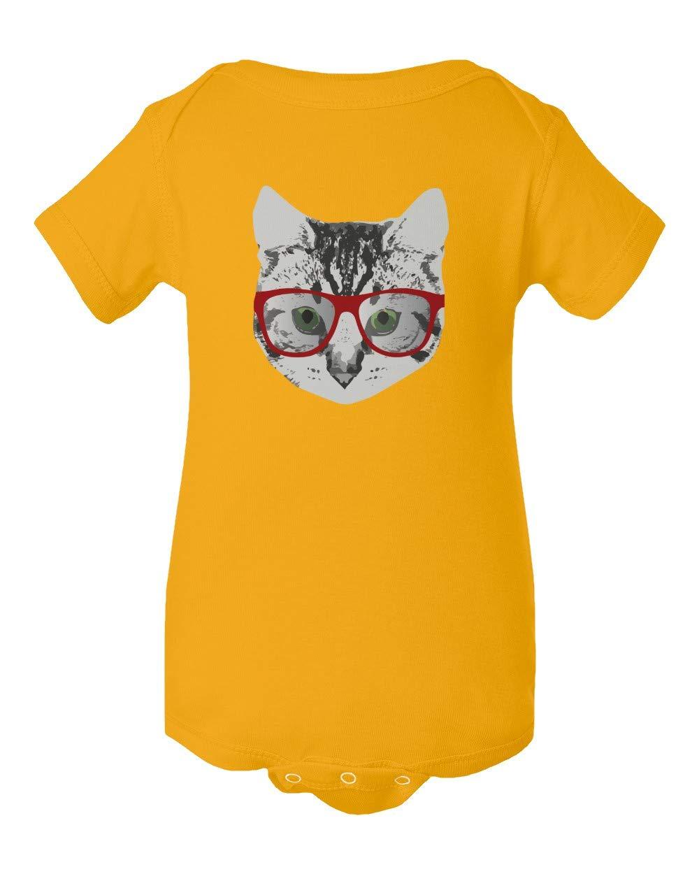 Red Linda Glasses Cat Funny Belcher Kitty Cute Humor Fun Short Sleeve Summer Romper Bodysuit (Gold,NB) by Societee