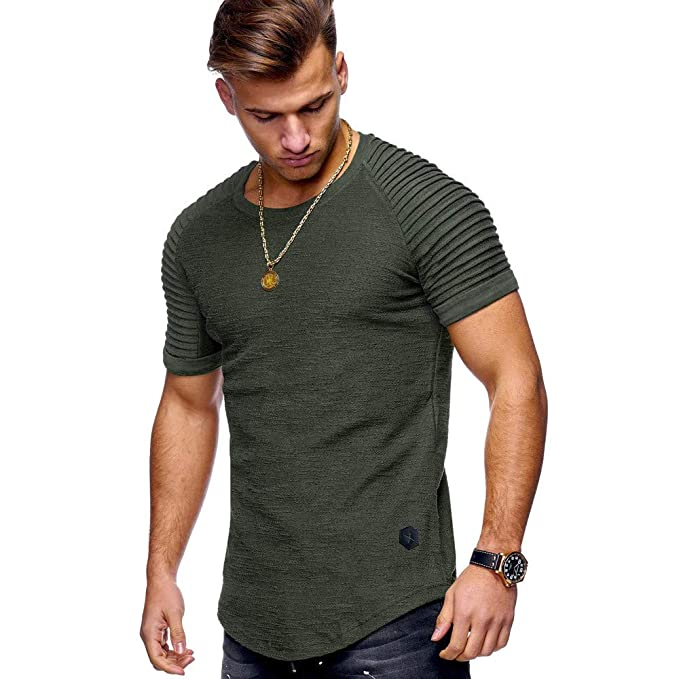 VENMO Camisetas Hombre,Hombres Camisetas de Músculo,Slim Fit Camiseta de Manga Corta de
