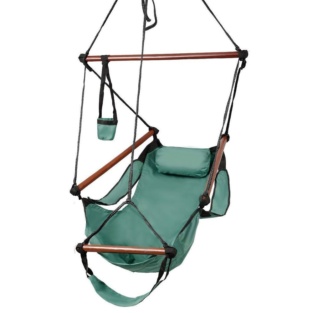 Green OnCloud Sky Chair Deluxe Hanging Hammock Air Chair Swing Seat with Pillow 250 LBS Solid Wood Weather Resistant for Indoor//Outdoor Yard Garden Tree Patio Porch Drink Holder
