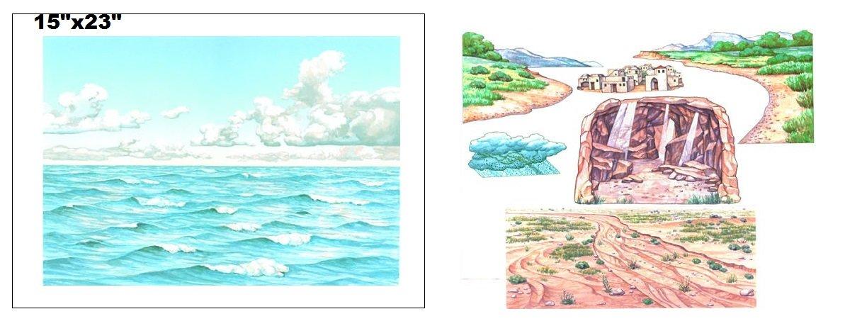 Water & Sky Flannel Board Cover & Shoreline Cave City& Desert Overlays Scripture Stories Bible Felt- Precut Small makes 16x24 size felt board
