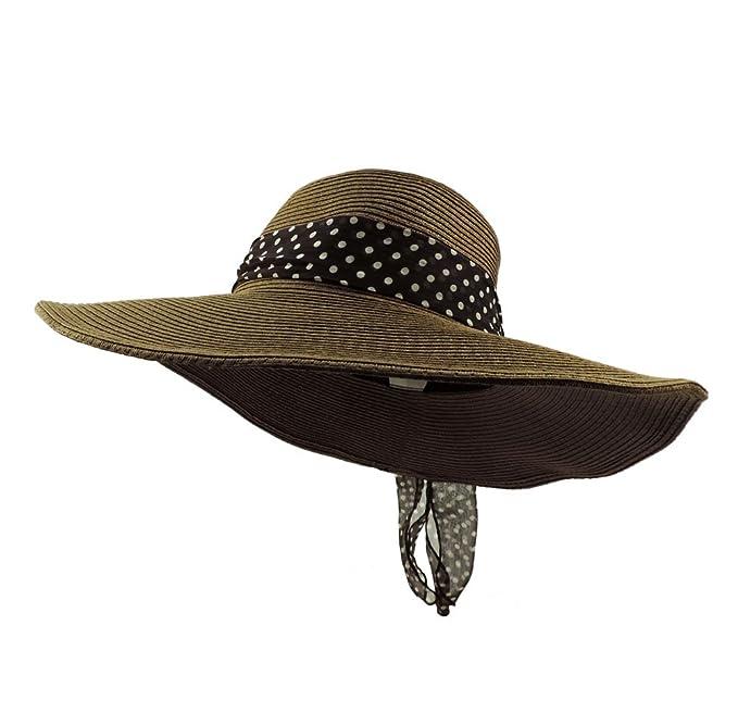 Amazon.com  Dark Brown Wide Brim Floppy Packable Sun Hat w  Brown ... 4f676ac08f3