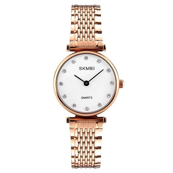 nobles relojes de las mujeres de vestir con diamantes de imitación bonito de línea rosa blanca