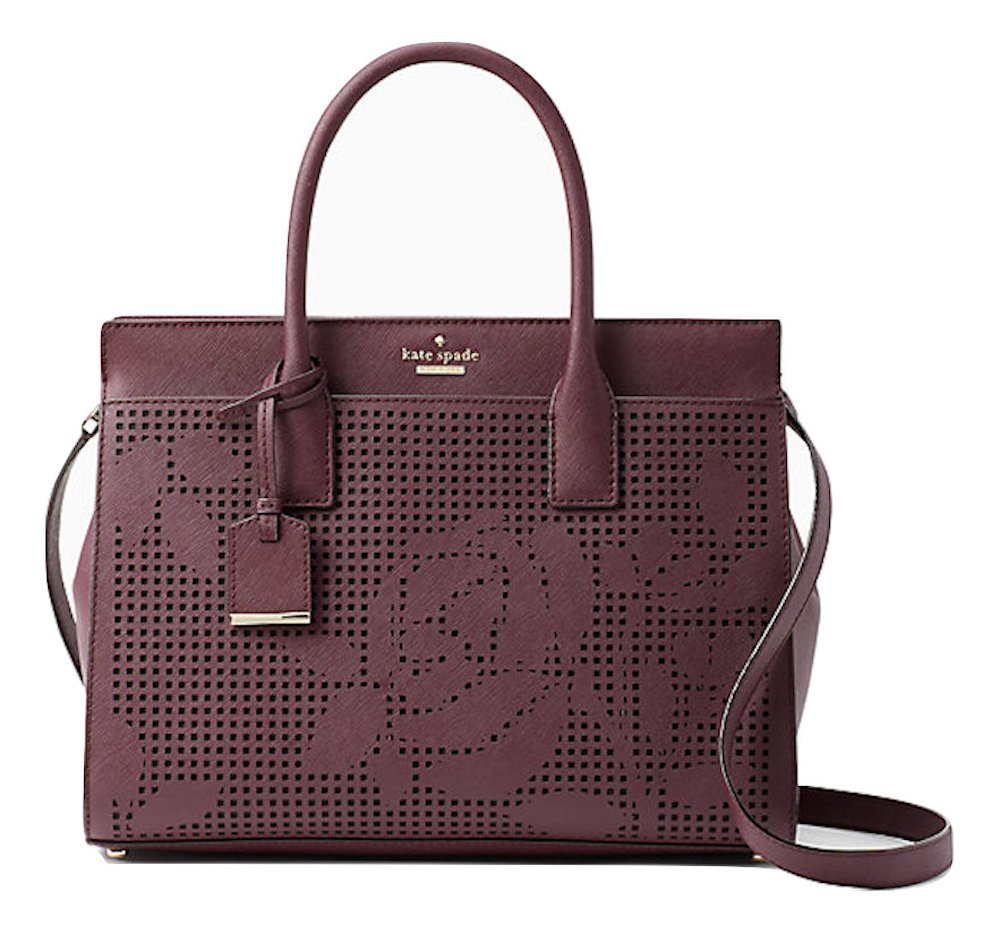 Kate Spade New York Cameron Street Perforated Candace Satchel PXRU7723 Deep Plum by Kate Spade New York