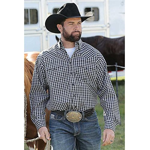 Miller Ranch Western Shirt Mens Button Plaid L/S XXL Black ()