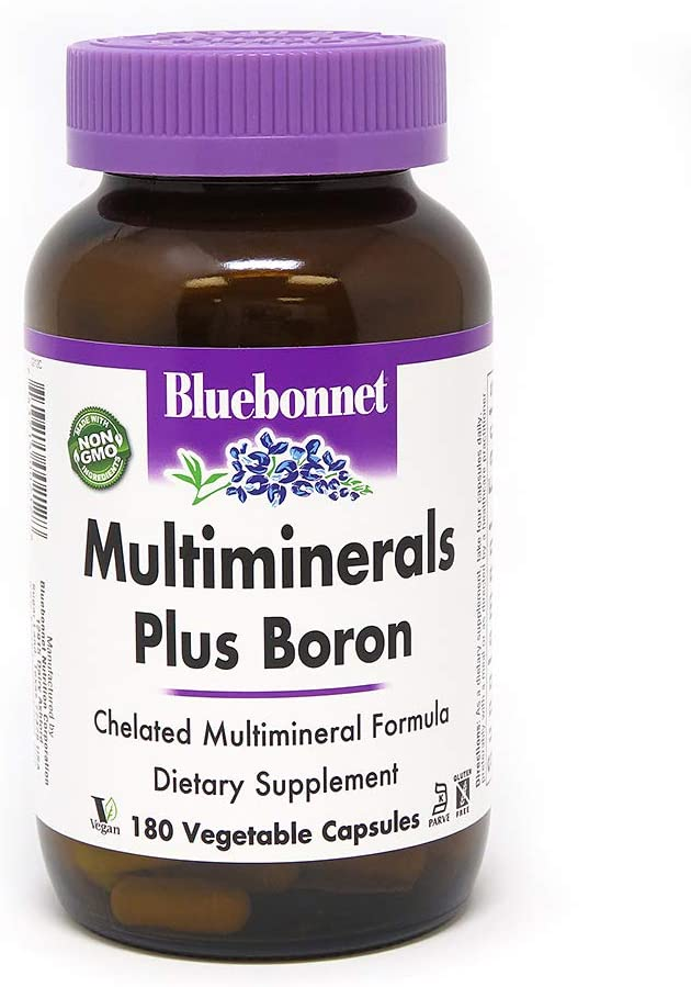 BlueBonnet Multi Minerals Plus Boron Vegetarian Capsules, 180 Count, White: Health & Personal Care