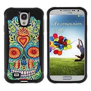 LASTONE PHONE CASE / Suave Silicona Caso Carcasa de Caucho Funda para Samsung Galaxy S4 I9500 / Heart Skull Daisy Floral Death Spring
