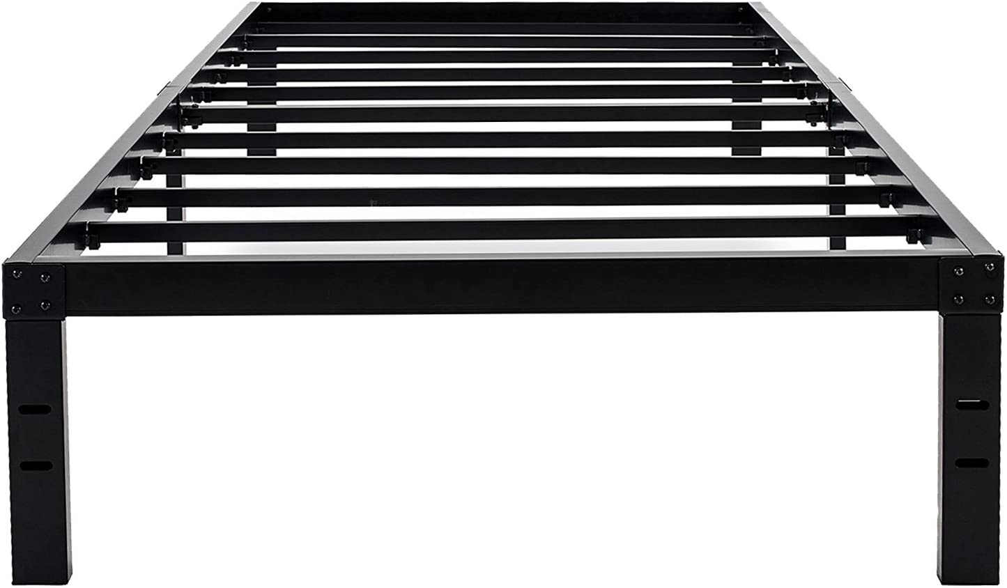 45MinST 14 Inch Reinforced Platform Bed Frame 3500lbs Heavy Duty Easy Assembly Mattress Foundation Steel Slat Noise Free No Box Spring Needed, Twin Full Queen King Cal King Twin
