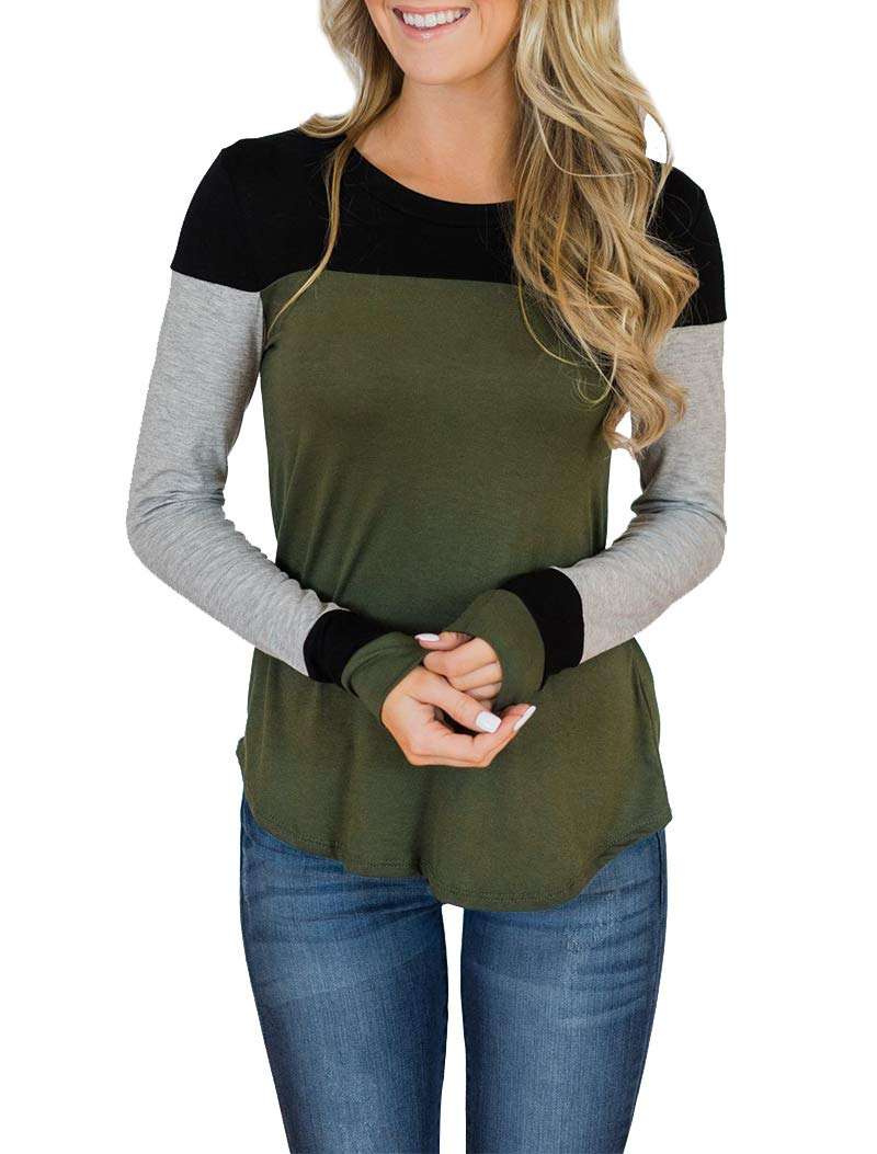 Minthunter Women's Long Sleeve Crew Neck Cute Tunic Color Block Tops