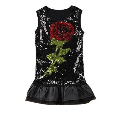 696f193e30e2 Yiwa Kinder Flauschiger R cke M dchen Sleeveless Rose Pailletten Kleid  Modische Runde Kragen