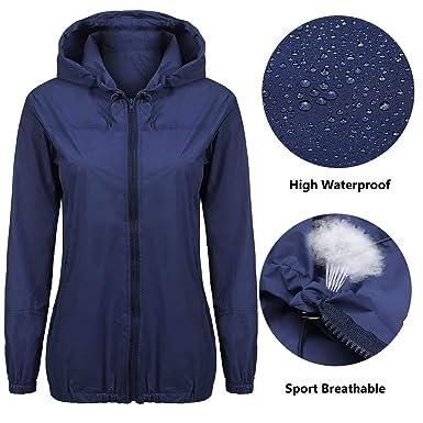165b1c2c1 Beyove Women's Womens Lightweight Raincoat Hooded Waterproof Active Outdoor  Rain Jacket