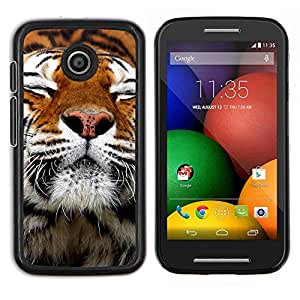 Caucho caso de Shell duro de la cubierta de accesorios de protección BY RAYDREAMMM - Motorola Moto E - Feliz piel del tigre animal anaranjada linda