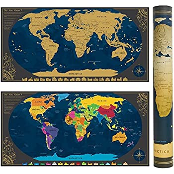 Amazon the ultimate scratch off world map poster bundle with scratch world map poster bonus scenic spot wall stickers and map mailing tube track gumiabroncs Images