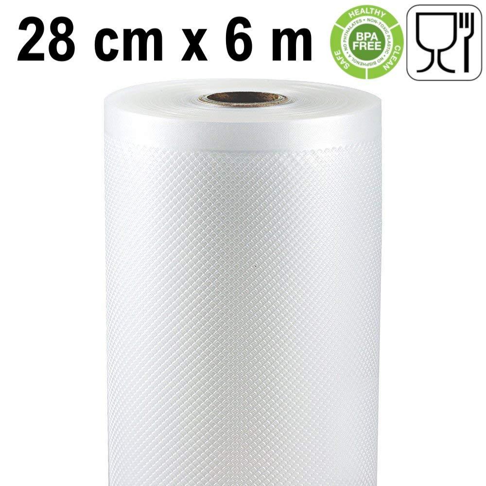 Rotoli per sottovuoto goffrati 28 cm x 6 metri 2 unità 28 cm 28 cm x 6 metri