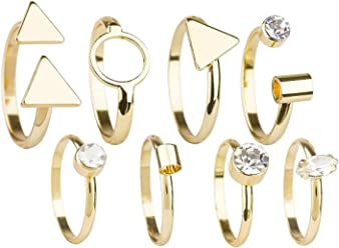 SIX Ringe 8er-Set: Goldfarbene Damenringe in verschiedenen Größen und Formen, Halbfingerring, Midi-Ring, Mini-Ring, Modeschmuck mit Strass (439-667)