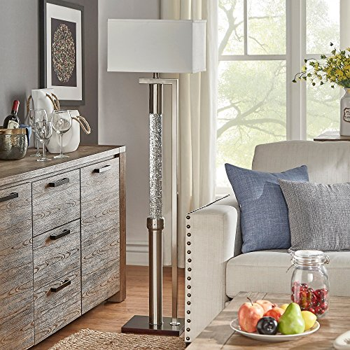 Modern Satin Nickel Floor Lamp with Dancing Water Feature and White Shade - Includes Modhaus Living Pen