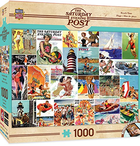 MasterPieces Saturday Evening Post Beachtime Collage - Beach Paintings 1000 Piece Jigsaw Puzzle by Norman Rockwell