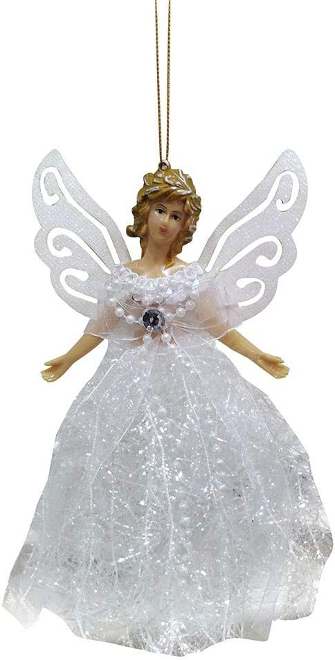 DDLmax Handmade Christmas Tree Pendant, Mini Angel Doll Christmas Tree Pendant, with Feather Wings, Used for Christmas Ornaments, Christmas Tree Ornaments