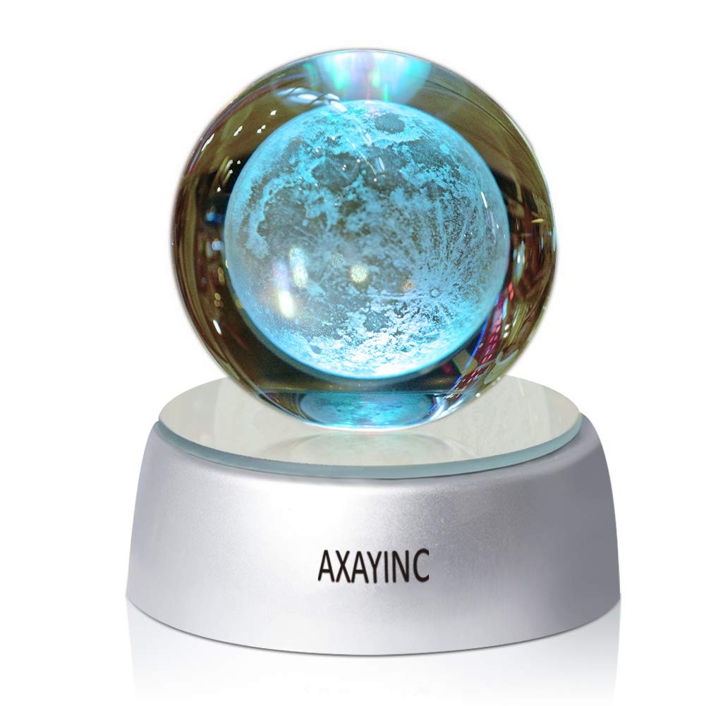 AXAYINC 3D Moon Lamp Crystal Ball Night Light with Stand 7 Colors Change Lunar Moonlight for Kids Baby Bedroom Decor Birthday Gift 50mm