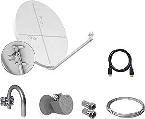Tecatel - Kit parabólica 80 cm, Soporte, LNB, Cable y ...