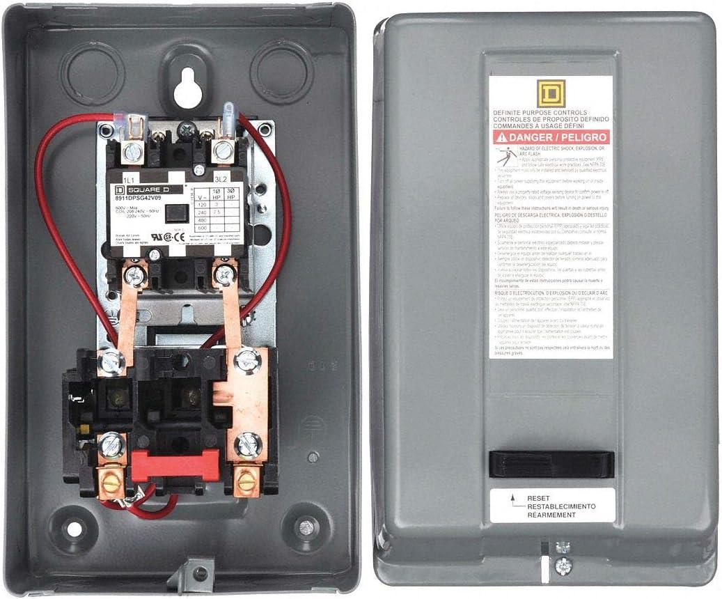 SQUARE D MAGNETIC STARTER 8911DPSG42V09 8911DPSO42V09 7.5HP 1 PHASE 230VAC 40AMP