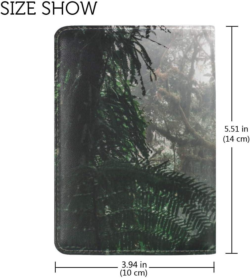 Jungle Forest Fog Leather Passport Holder Cover Case Travel One Pocket