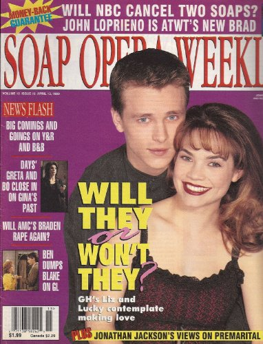 Rebecca Herbst, Jonathan Jackson, General Hospital, George Alvarez, Carolyn Conwell - April 13, 1999 Soap Opera Weekly Magazine
