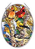Amia 6433 Large Oval Suncatcher with Songbird Design, 6-1/2-Inch W by 9-Inch L, Hand-painted Glass