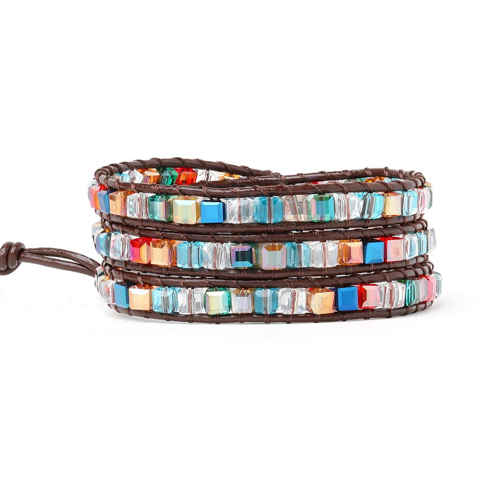 Genuine Leather Wrap Crystal Bead Bracelets For Women Teen Girls Adjustable Best Friend Multicoloured Beaded Bracelet 3