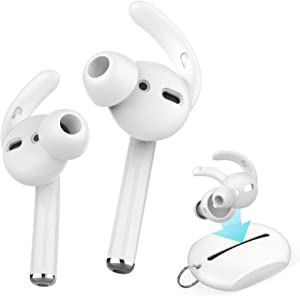 AhaStyle 2 Pairs AirPods Ear Hooks Tips Earbuds Covers [Added Storage Pouch] Compatible with Apple AirPods 2 and 1 or EarPods(White-2 Pairs Small)
