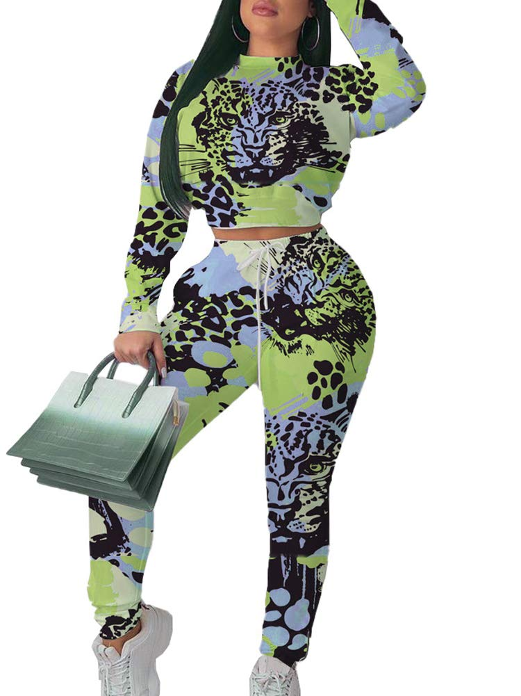 Women Club 2 Piece Outfit Long Sleeve Animal Print Tee Shirts Tight Outfit Rompers Pants Multicolor 03 XL by NVXIYYA