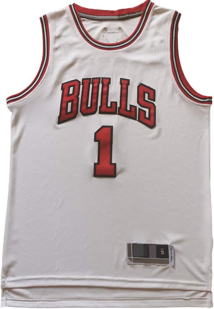 YHIU Herren Basketball Trikot Derrick Rose #1 Chicago Bulls Basketball Uniform Sommer Wei/ß farbe Material XXX-Large