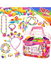 FUNZBO Snap Pop Beads for Girls Toys - Kids Jewelry Making Kit Pop-Bead Art and Craft Kits DIY Bracelets Necklace Hairband and Rings Toy for Age 3 4 5 6 7 8 Year Old Girl